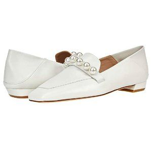 Stuart Weitzman Loafers Mickee Pearls White Leather Flats